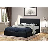 Home Treats Black Ottoman Bed Frame with Lift Up Storage, 4 Sizes Available (Double 4ft 6)