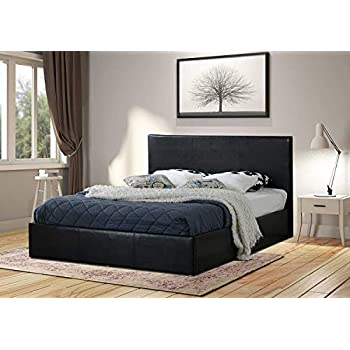 26573faa93bd Home Treats Black Ottoman Bed Frame with Lift Up Storage, 4 Sizes Available  (Double 4ft 6)