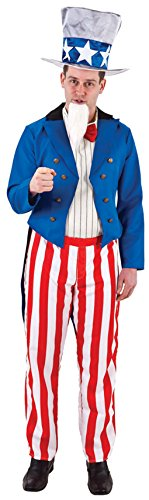 Uncle Sam Mens Fancy Dress American USA Army Military Adults Costume Outfit New
