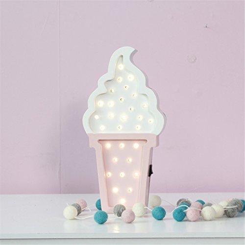 XIAOBIDENG Home Decor Creative Eis Cartoon Nachtlicht LED Energiesparen Schlafzimmer Kleine Lampe Dekoration Zubehör Weiß Rosa (Hello Schlafzimmer Lampen Kitty Für)