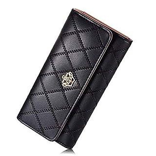 Women Wallets, 3 Fold Metal Crown Long Zipper Clutch Wallet Female Fake PU Card Holder for Women Ladies Black Purse(Black)