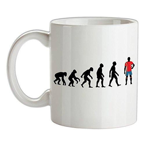 Dressdown Evolution of Man - Spanischer Nationalspieler - Bedruckte Kaffee- und Teetasse -