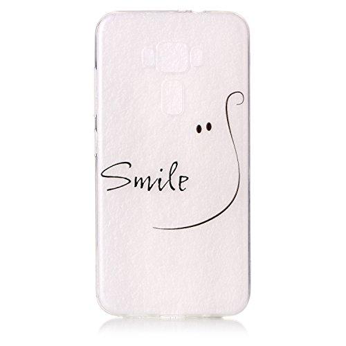 Preisvergleich Produktbild ZE520KL Hülle, ZenFone 3 ZE520KL Hülle, Anlike Asus ZenFone 3 ZE520KL (5,2 Zoll) Case, Transparent TPU Silikon Schutzhülle Cover Case Silikon Schlank Flexibel Handy Hülle [Malerei Stil Design] für lächeln