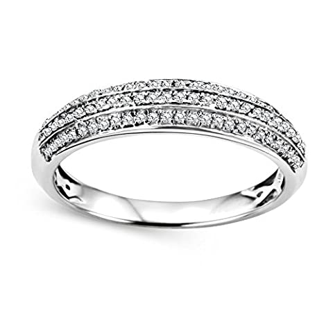 Diamada Femme or blanc en diamant bague 9kt (375) brillant 0.239cts