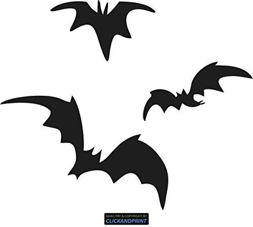 CLICKANDPRINT Aufkleber » Fledermäuse, 10x8,3cm, Schwarz Reflektierend • Dekoaufkleber / Autoaufkleber / Sticker / Decal / Vinyl