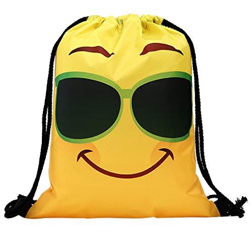 erthome Frauen-Rucksack-Speicher-Bündel-Seil-lustiges niedliches Muster-Einkaufstasche Tasche PU-Leder Geldbörsen und Frauen Handtaschen Scherbe (K)