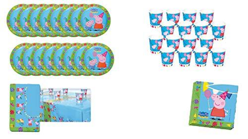 ALMACENESADAN 0463, Einweg-Pack Party und Geburtstag Peppa Pig, 16 GläSer, 16 Teller 23 cm, 20 Servietten und 1 Tischdecke 120x180 cm