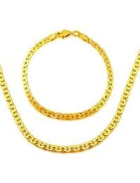 los hombres de cadena de frijol rojo&mujer joyería al por mayor 18k chapado en oro 5.2mm serpiente cadena de la pulsera del collar