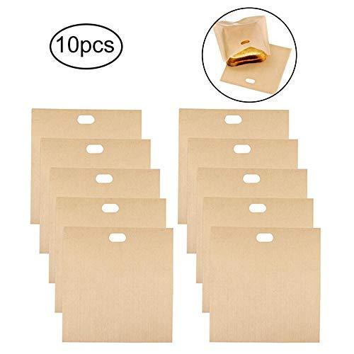 Womdee Toaster-Taschen, Toaster Bags,Non-Stick Wiederverwendbare Toastabags Waschbar 10 StüCk Teflon Toaster Beutel FüR Toast Sandwich Panini Snacks Backpapier -