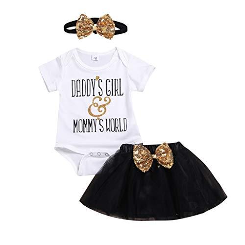 MEIbax Kinder Brief gedruckt Strampler Romper Tüll Bogen Pailletten Rock Haarband Outfit Set Tutu Mini Ballkleider Abendkleid Bekleidungssets für Baby-Mädchen