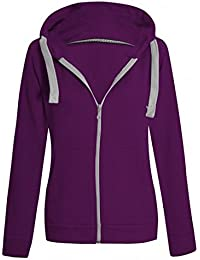 Ladies Plain Zip Up Hoodie Womens Fleece Hooded Top Long Sleeves Front  Pockets Soft Stretchable Comfortable Plus Sizes Small to… 983923bb2