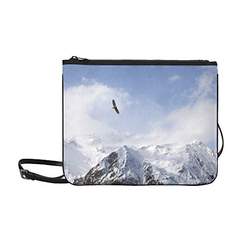 Adler schwebt über schneebedeckten Bergen Muster benutzerdefinierte hochwertige Nylon dünne Clutch Crossbody Tasche Umhängetasche