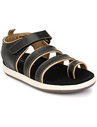 Real Blue Men Leather Sandal  Black Leather   Black Color Sandal   Office Use Sandals   Daily Use Sandals   Trendy Sandal   Suede Leather   Formal Sandal   Buckle Closure  Slip On Sandals