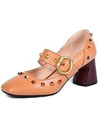 XZGC Sandali Piatto Antiscivolo Rivetto Tipo di Scarpe da Donna, 34 EU, Oro