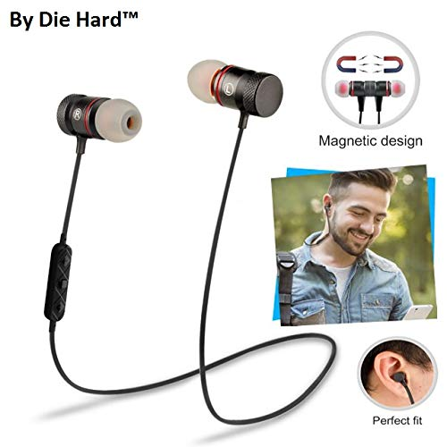 Die Hard(TM), Magnetic Sports Bluetooth Headphone Attractive with Noise Isolation | Integrated Neckband | Thunder Beats Stereo Sound and Hands-free Mic and Controlling Buttons with Magnetic Earbuds Bluetooth Headphones Earphones Wireless Sport Stereo Extra Bass Headsets Handsfree with Microphone for Android, Apple Devices, Xiaomi Mi, iPhone, Phillips, JBL, Vivo, Bose, Boat Rockerz, One Plus, Motorola, Mivi, QCY, Samsung, LG Tone mobile devices (Color May Vary)