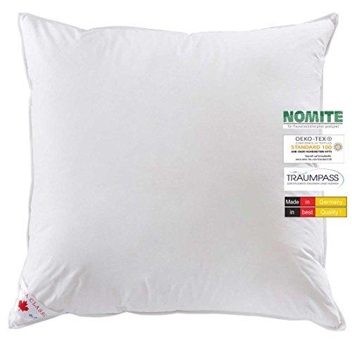 wohnTRAUM 24 Kopfkissen Komfort - Made in Germany - 85% Federn 15% Daunen - 1.000 g -Öko-Tex-100, NOMITE, Traumpass 80x80 cm weiß -