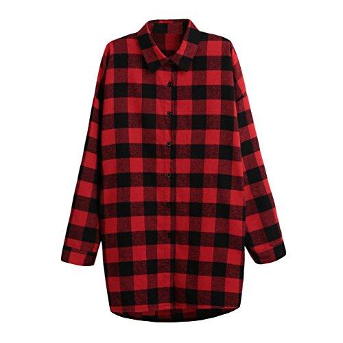 Romacci Damen Baumwoll Hemd Karierte Bluse Langarm Oversize Longshirt Cardigan Top Schwarzes/Rot S-5XL Rot