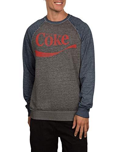 Coke Coca-Cola Soda Herren Swoosh Crew Fleece Sweatshirt - Grau - 44 DE/46 DE (Small)