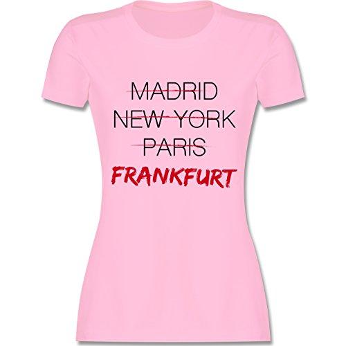 Shirtracer Städte - Weltstadt Frankfurt - Damen T-Shirt Rundhals Rosa