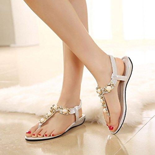 COOLCEPT Damen Mode Knochelriemchen Flip Flops Flach Slingback Schuhe Silber