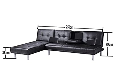 New Manhattan Modern Corner L Shaped Faux Leather Sofa Settee Bed & Chaise Longue In Brown, Black, Red or White - cheap UK sofabed shop.