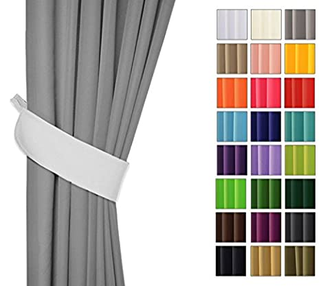 Sonnenschutz und Sichtschutz 2er Pack Vorhänge mit Tunnelband (Weiß 1, Drapierung) Dekorative Blickdicht 2 Stücke Gardinen, Vorhang Schal für Schlafzimmer, Kinderzimmer, Wohnzimmer 40