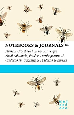Musician Notebooks & Journals, Bees (Nature Collection) Large, Soft Cover: (5.5 x 8.5)(Blank Sheet Music, Music Manuscript Paper, Staff Paper)
