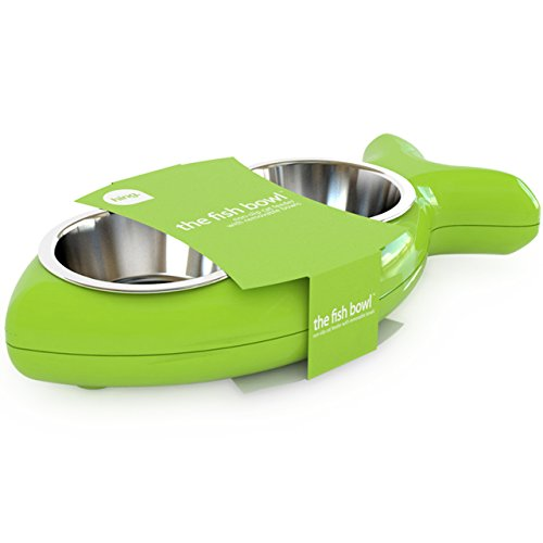 Katzennapf in Fischform – für Wasser und Futter, grün (Non-slip-haustier-schüssel)