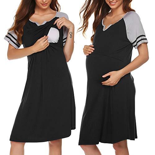 Nachthemd Schlafen (ADOME Damen Pflege/Geburt/Krankenhaus Baumwolle Nachthemd für Schwangere Umstandsnachthemd V-Ausschnitt Streifen Kurzarm Patchwork Stillnachthemd)