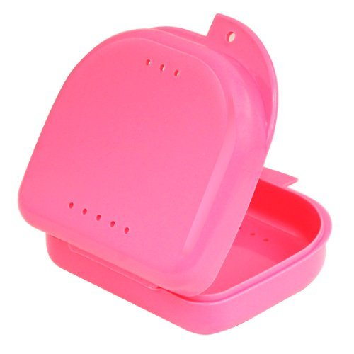 Homgaty Mouth Dental Orthodontic Retainer Case Box For Sport Guard Dentures Brace Teeth (Pink)