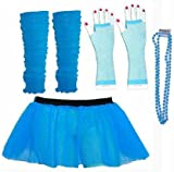Four Peice Adult Womens 8-14 Neon Blue Turquoise Tutu Set Tutu Legwarmers Fishnet Gloves Beads 80s Fancy Dress Costume (RB Fashions Clothing)