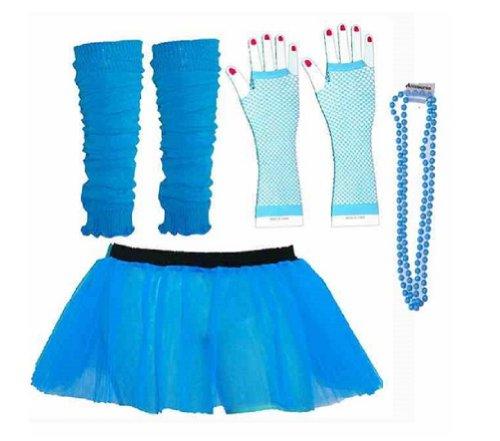 Four Piece Adult Womens 8-14 Neon Blue Turquoise Tutu Set