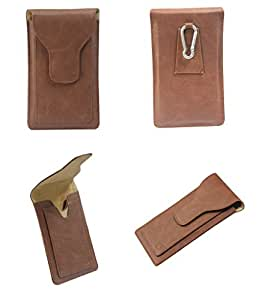 Brain Freezer J Cover A16 F Cutting Edge Series Leather Pouch Holster Case For Lava Iris Pro 30+ Brown