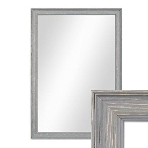 PHOTOLINI Wand-Spiegel 34x44 cm im Holzrahmen Skandinavisches Design Grau-Braun/Spiegelfläche 30x40 cm