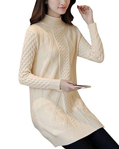 Femmes Casual Robe de Manches Longues Col Roulé Lâche Longue Pullover Pulls Chandail Beige