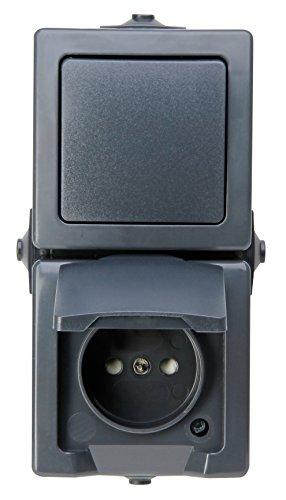 Kopp Nautic 2-Fach Kombination, bestehend aus Steckdose mit Klappdeckel und erhöhtem Berührungsschutz, 250V (10A), IP44, senkrechte Montage, anthrazit
