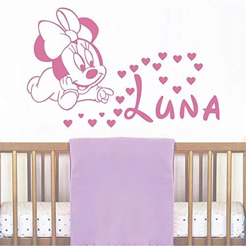 wandaufkleber schlafzimmer Wand-Mädchen personalisierte Name Abziehbilder Baby Minnie Mouse Sticker Baby Mädchen Name Kindergarten für Kinderzimmer