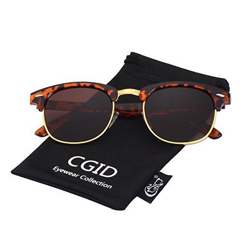 CGID MJ56 Clubmaster clubma Retro Vintage Sonnenbrille im angesagte 60er Browline-Style mit markantem Halbrahmen Sonnenbrille,Mehrfarbig-Braun