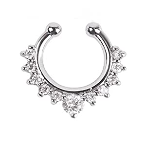 Oasis Plus White Crystal Clip On Septum Fake Nose Ring Hoop Non Piercing Hanger Nose Rings Stud Body Jewelry