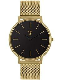 7284bc0c39de Farah Slim Jim Reloj con Esfera de satén Negro y Pulsera de Oro Sandblast