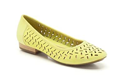 Clarks Womens Casual Clarks Henderson Silk Suede Shoes In Lime Standard Fit Size 2