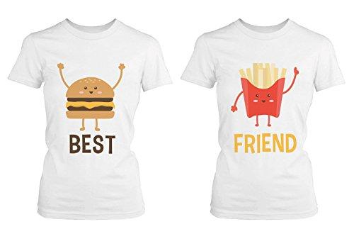 365Stampa Hamburger e patatine fritte Camicie BFF Migliore Amico Matching Tee-Amicizia Tshirts White Sinistra-M/Destra-XL