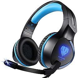 Zenoplige Auriculares Estéreo Cascos Gaming con micrófono de Juegos y Música para PS4, Xbox One, PC, Mac, iPad y MÓVIL, Luz LED, Earphones Control del Volumen para Videojuegos. Colro Negro-Azul