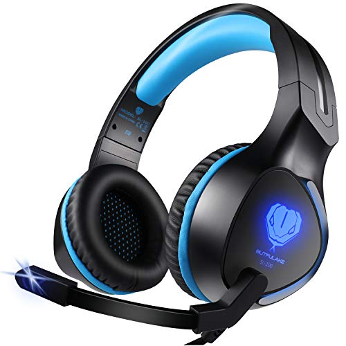 Zenoplige cuffie pc gaming microfono per ps4, xbox one cuffia da gioco gamer stereo led luce per pc laptop tablet mac tablet ipad mp3 mp4 iphone smartphone, colore blu