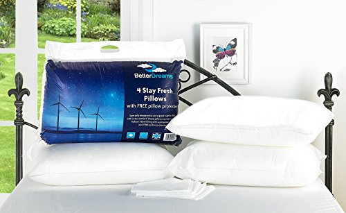 4 Stay Fresh Pillows With 4 Free Pillow Protectors