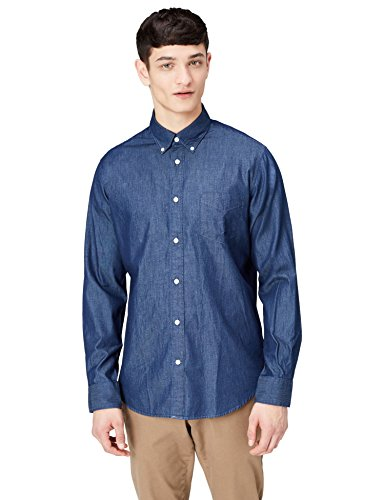 Find camicia chambray regular fit uomo, blu (blue), large