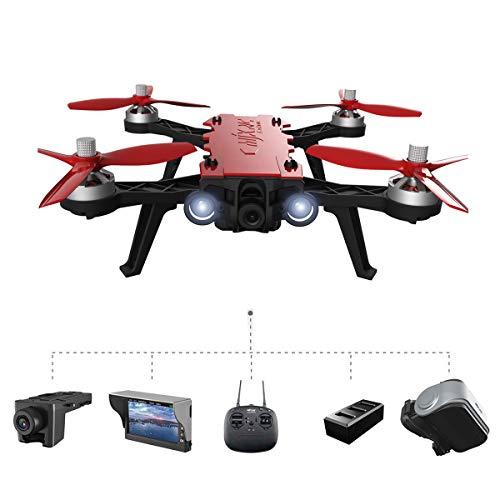 Tanli MJX Bugs 8 Pro Drone Angulo / Acro 3D Flips Carreras de Alta Velocidad Brushless RC Quadcopter con C5830 5.8G FPV 720P Cámara, una batería, D43 4.3 LCD RX Display, G3 5.8G FPV Goggles