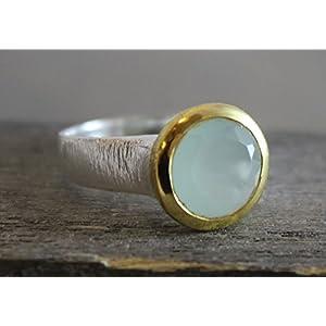 Aqua Chalcedon Mixed Metall vergoldet Sterling Silber Ring Größe US Size 9 / Diameter 19