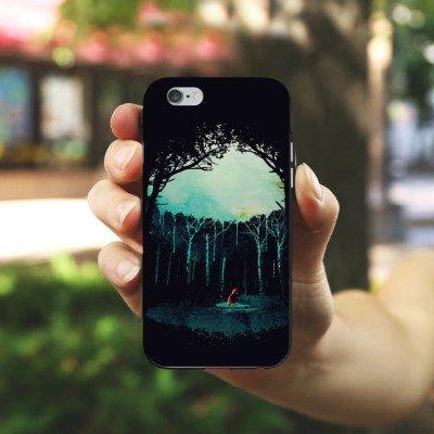 Apple iPhone X Silikon Hülle Case Schutzhülle Wald Art Forest Silikon Case schwarz / weiß