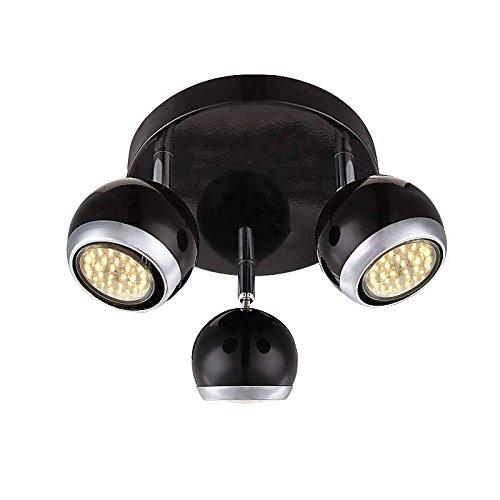 LED Deckenstrahler 3 flammig Decken Spot Deckenlampe bewegliche Spots Strahler Flur Lampe Metall schwarz (Deckenleuchte, Deckenlicht, Schlafzimmer, Wohnzimmer Leuchte, 27 cm, 3 x 3 Watt, warmweiß)